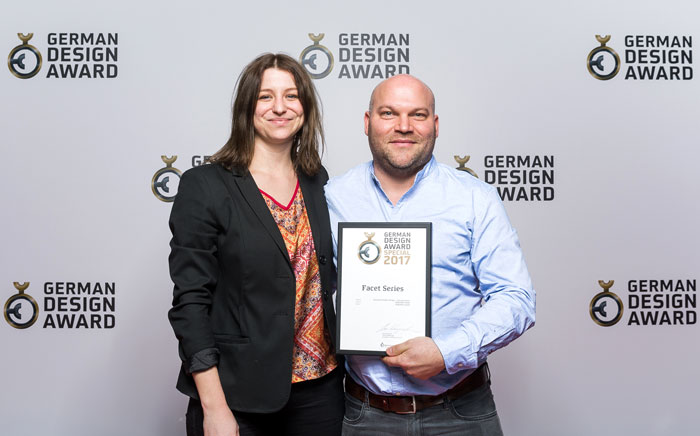 From left to right Eva Hotz (Product Manager Premium Experience) and Daniel Knies (Director Design & Products) at SPIRIANT GmbH German Design Awards